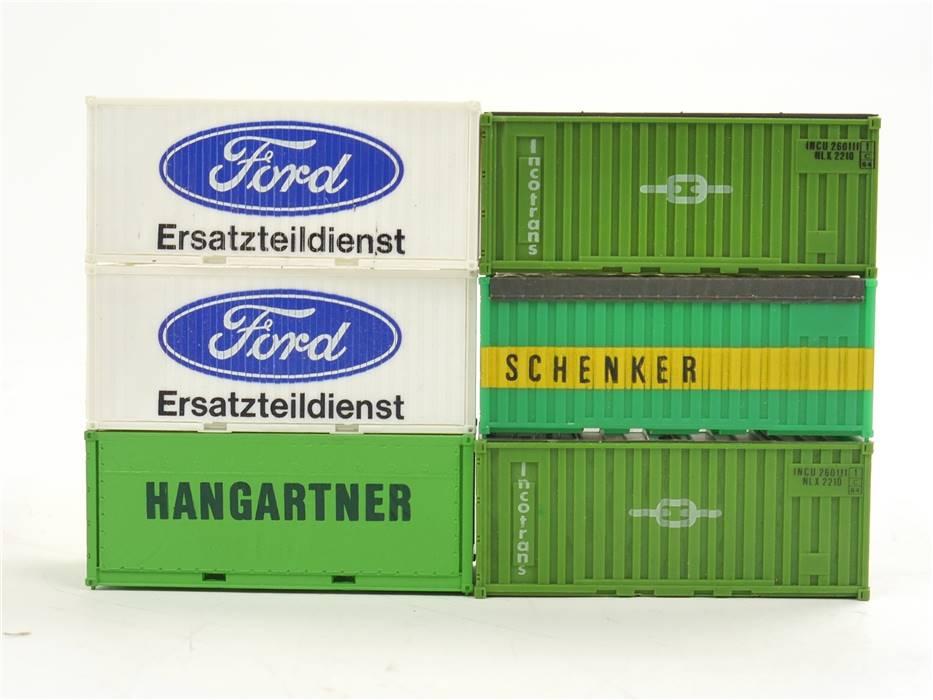 """E169 H0 6x Ausschmückung Ladegut Ladung Container """"Ford, Schenker, Hangartner"""""""