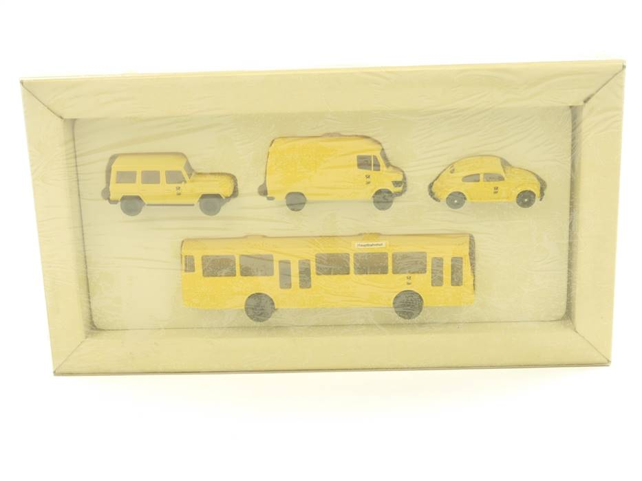 "E188 Wiking H0 Modellautoset 4-tlg. ""Postreklame Post-Museums-Shop 1991"" *TOP*"