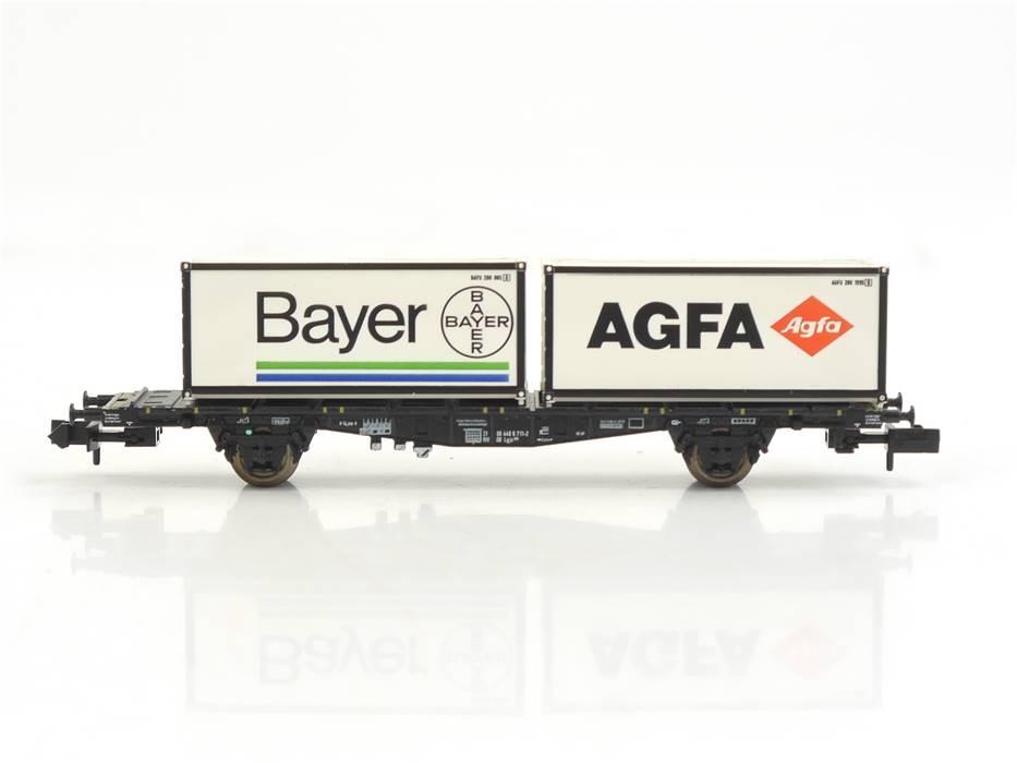 """E330 Minitrix N 15210 Güterwagen Containertragwagen """"AGFA Bayer"""" DB / NEM"""