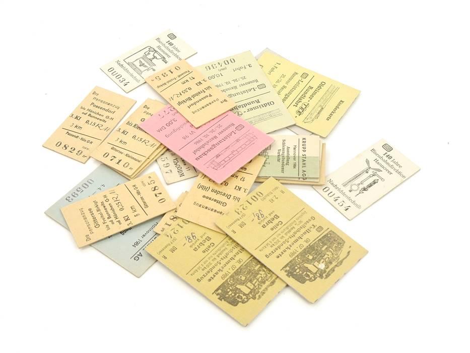 E169 22x Fahrschein Fahrkarte Fahrausweis Kinderkarte etc.