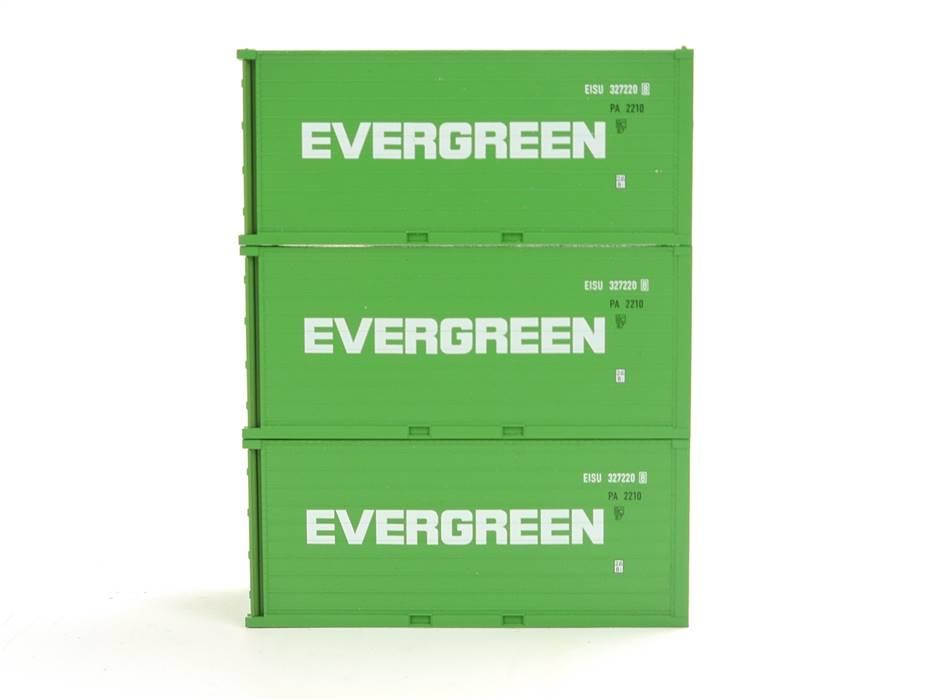 """E169 Fleischmann H0 3x Ausschmückung Ladegut Ladung Container """"EVERGREEN"""""""