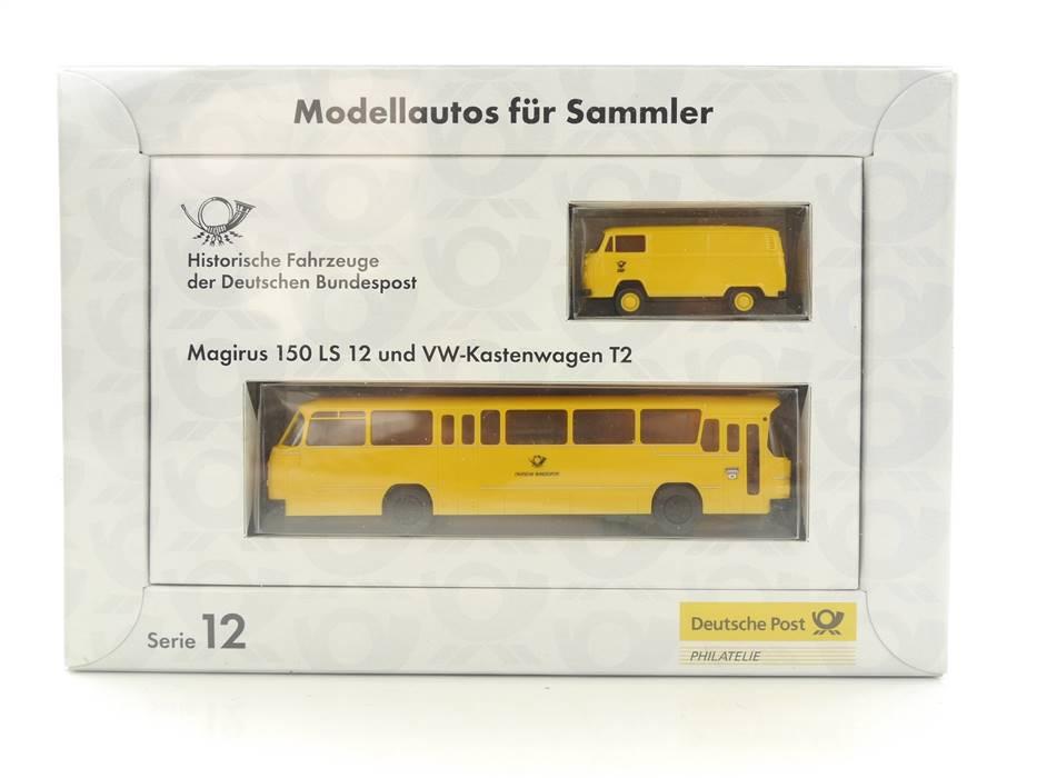 E332 Brekina H0 Serie 12 Modellauto-Set 2-tlg Bus Magirus 150 + VW T2 1:87 *TOP*