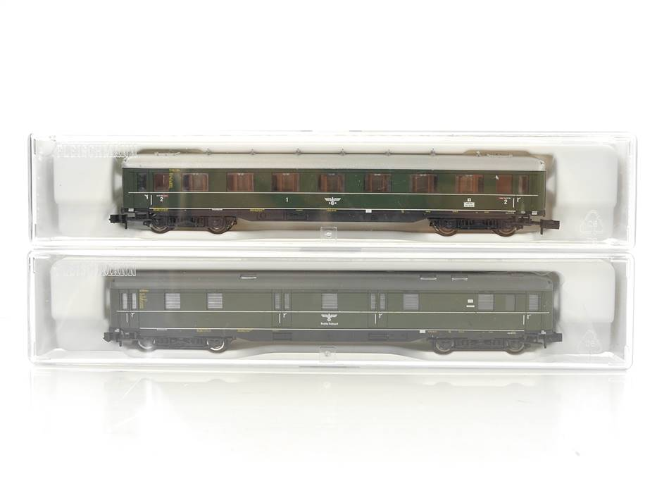 E320 Fleischmann N 867001 867201 2x Personenwagen Postwagen Schürzenwagen DRP *NEU*