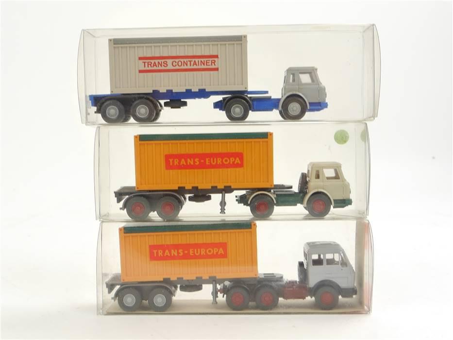 "E169 Wiking H0 526 3x Modellauto LKW Containersattelzug ""Trans-Europa"" 1:87"
