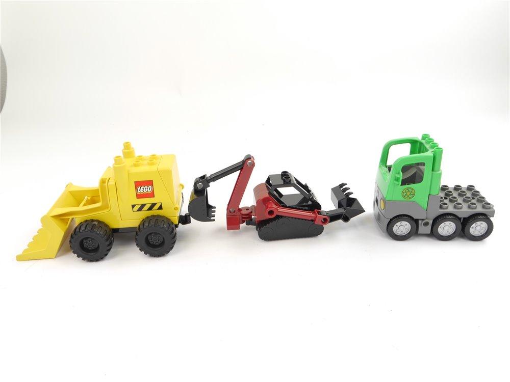 E239 LEGO Duplo 3293 2807 4659 3x Fahrzeug Bagger Schaufelradlader Müllabfuhr