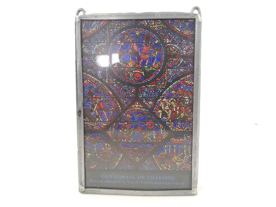 E169 Cathedrale de Chartres Roland détail de la vie de Charlemagne / Glas