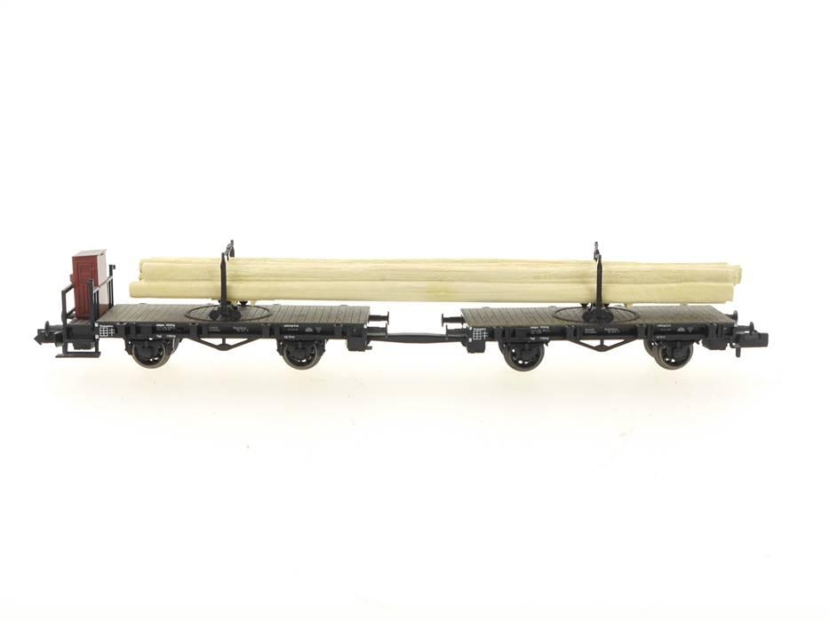 E320 Fleischmann N 8223 Güterwagenset 2-tlg. Langholzwagen mit Ladegut DRG
