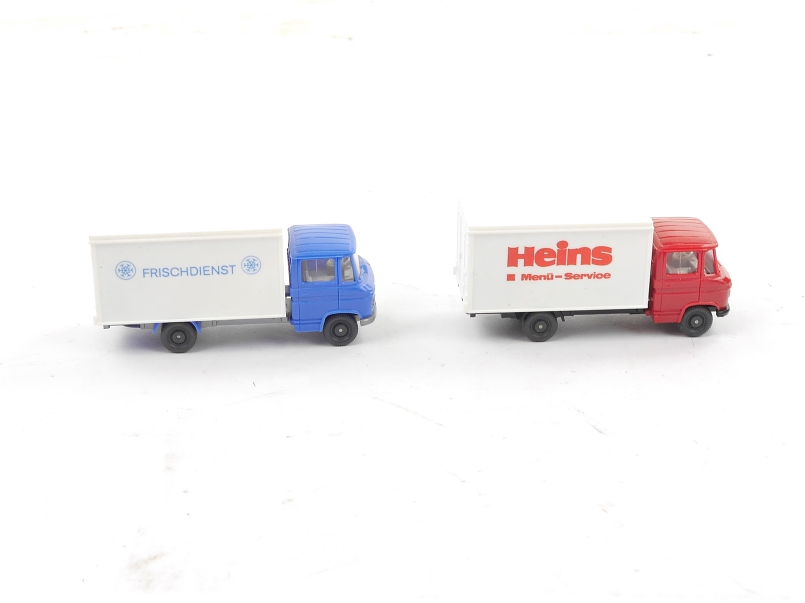 """E188 Wiking H0 2x Modellauto Container-LKW """"Heins + Frischdienst"""" 1:87"""