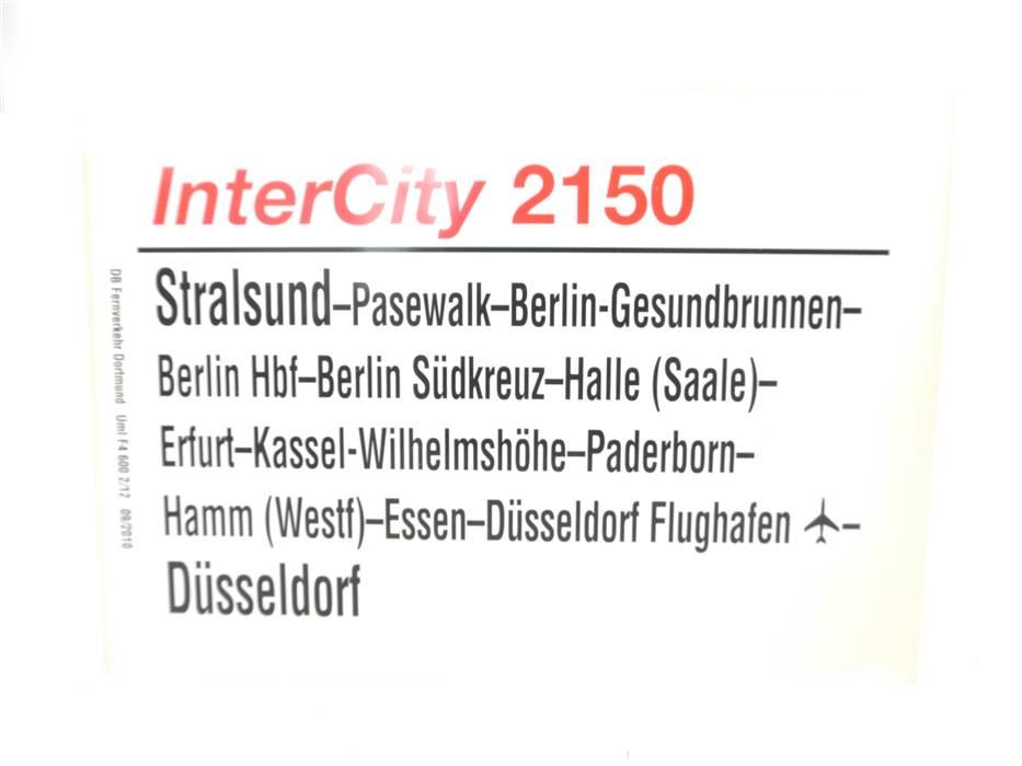 E244 Zuglaufschild Waggonschild InterCity 2150 Stralsund - Berlin - Düsseldorf