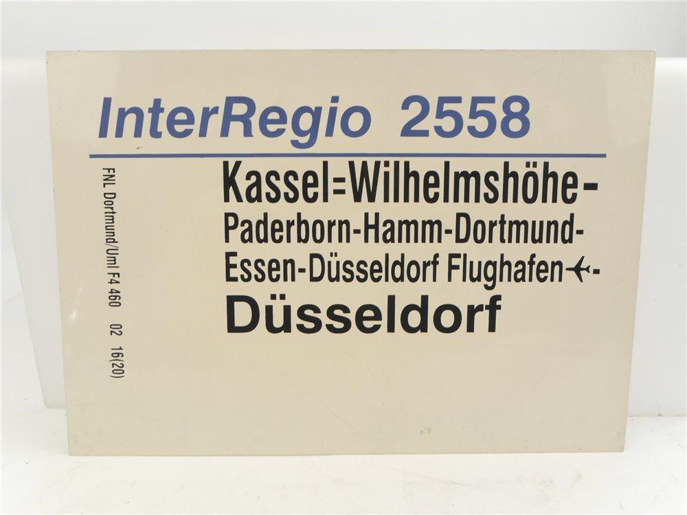 E244 Zuglaufschild Waggonschild InterRegio 2558 Kassel-Wilhelmshöhe - Düsseldorf