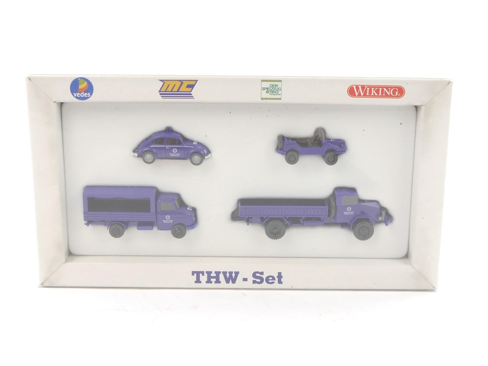 """E188 Wiking H0 990 32 Modellauto-Set 4-tlg. """"THW Set"""" 1:87 *TOP*"""