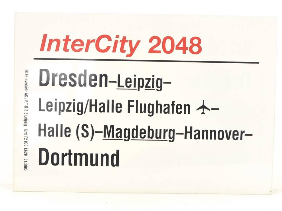 E244 Zuglaufschild Waggonschild InterCity 2048 Dresden - Magdeburg - Dortmund