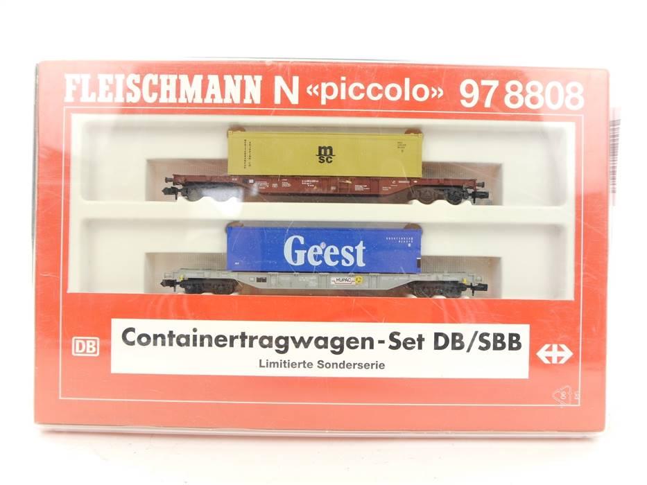E326 Fleischmann N 97 8808 Güterwagenset 2-tlg. Containertragwagen / KKK *TOP*