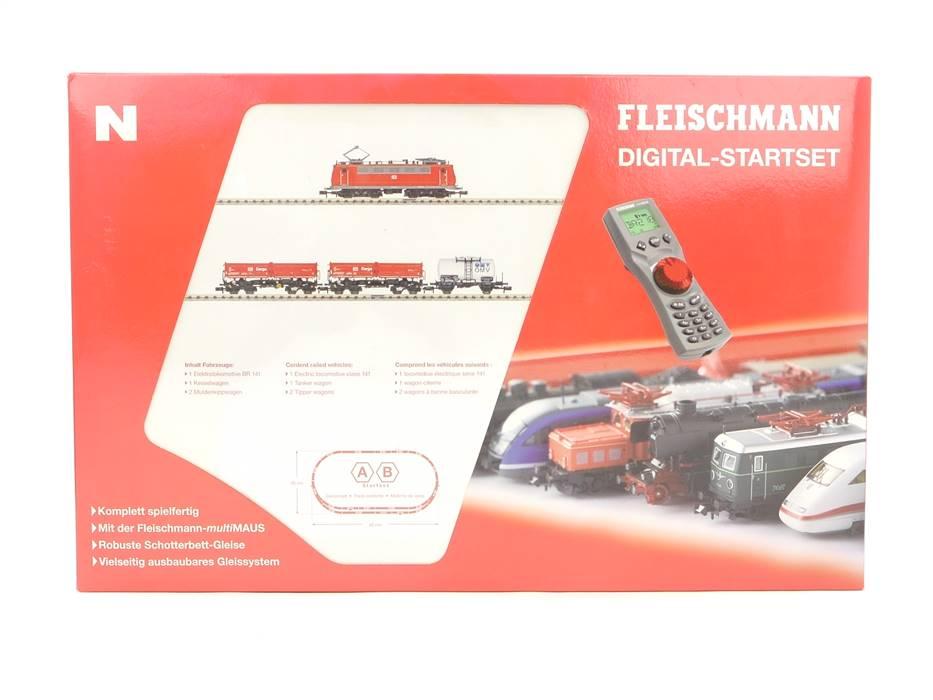 E307 Fleischmann N 931081 Startset 26-tlg. Güterzug + Zubehör / Digital *TOP*