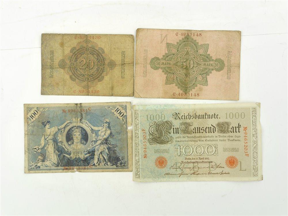 E260 4x Reichsbanknote Zwanzig Fünfzig Einhundert Eintausend Mark / 1908-1910
