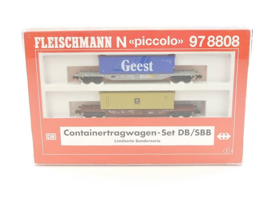 E289 Fleischmann N 97 8808 Güterwagenset 2-tlg. Containertragwagen / KKK *TOP*