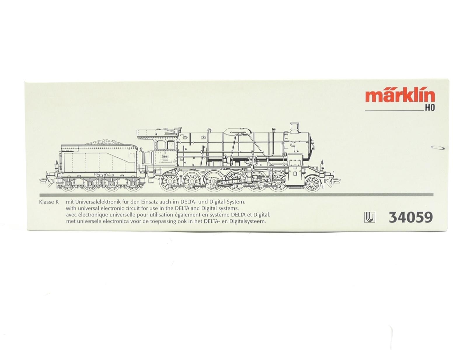 E116 Märklin H0 34059 Leerverpackung Leerkarton OVP für Dampflok Klasse K