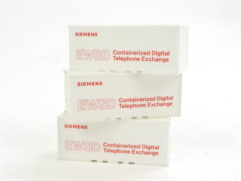 """E169 Wiking H0 3x Zubehör LKW Container """"Siemens EWSD"""""""
