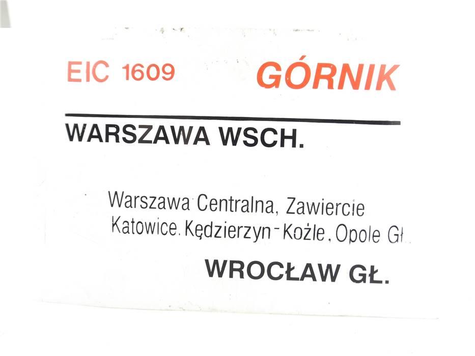 """E244a Zuglaufschild Waggonschild EIC 6108 6109 """"Górnik"""" Wroclaw - Warszawa Wsch."""
