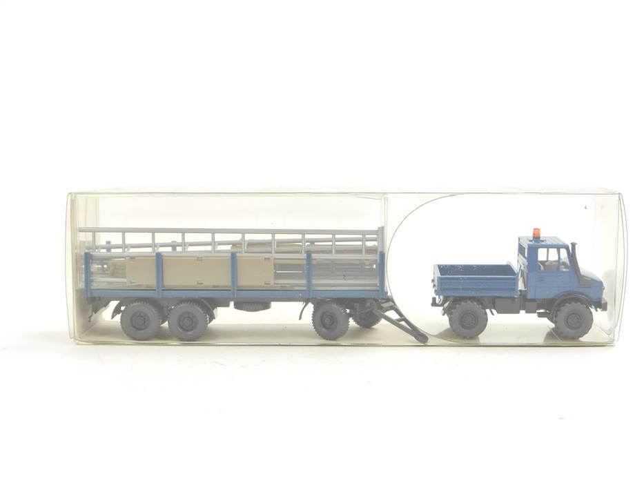 E169 Wiking H0 392 Modellauto Unimog U 1700 mit Rungenanhänger 1:87 *TOP*