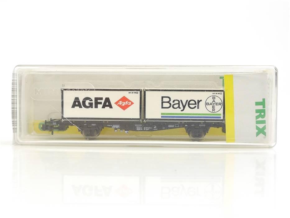 """E330 Minitrix N 15210 Güterwagen Containertragwagen """"AGFA Bayer"""" DB / NEM *TOP*"""