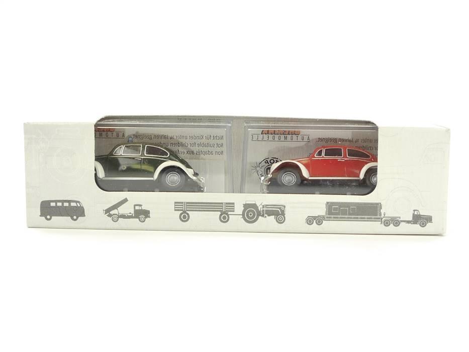 """E332 Brekina H0 Modellautoset 2-tlg. VW Käfer """"Polizei + Feuerwehr"""" *TOP*"""