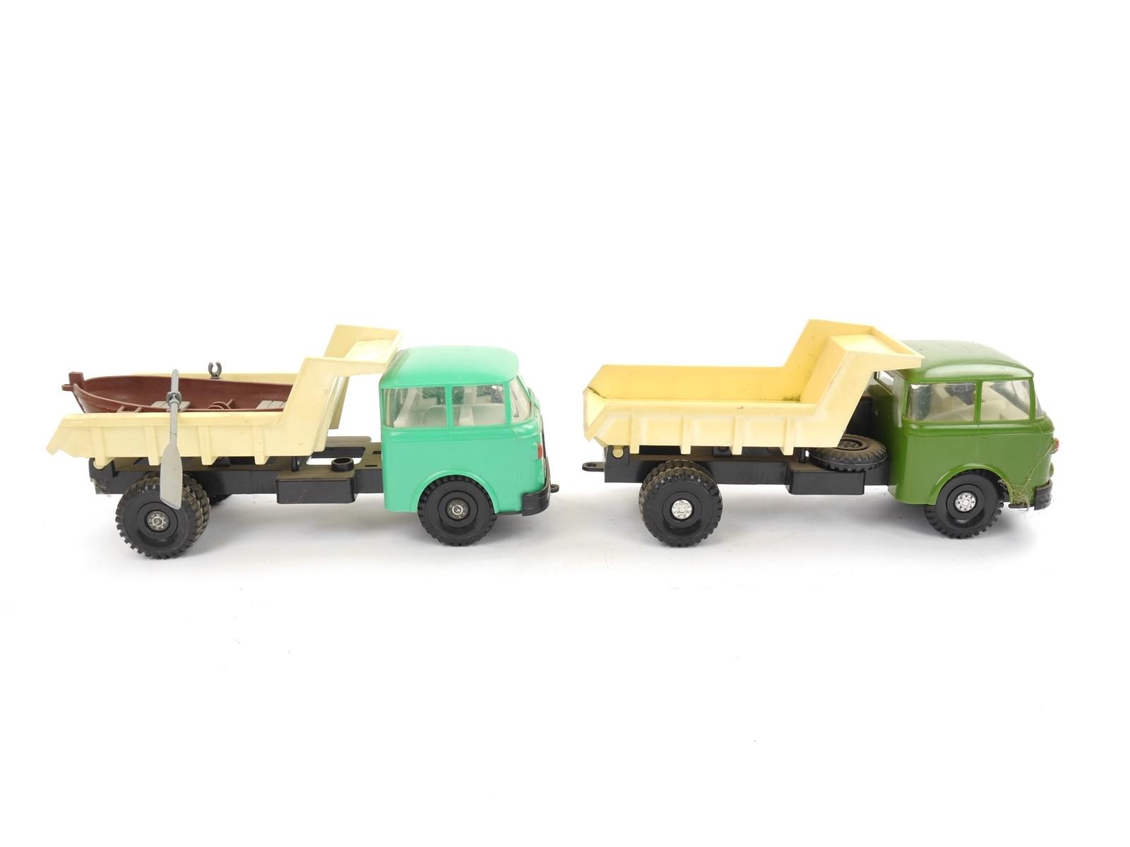 E103 2x Spielzeug Spielzeugauto LKW Kipper Muldenkipper Skoda + Ruderboot *DDR*