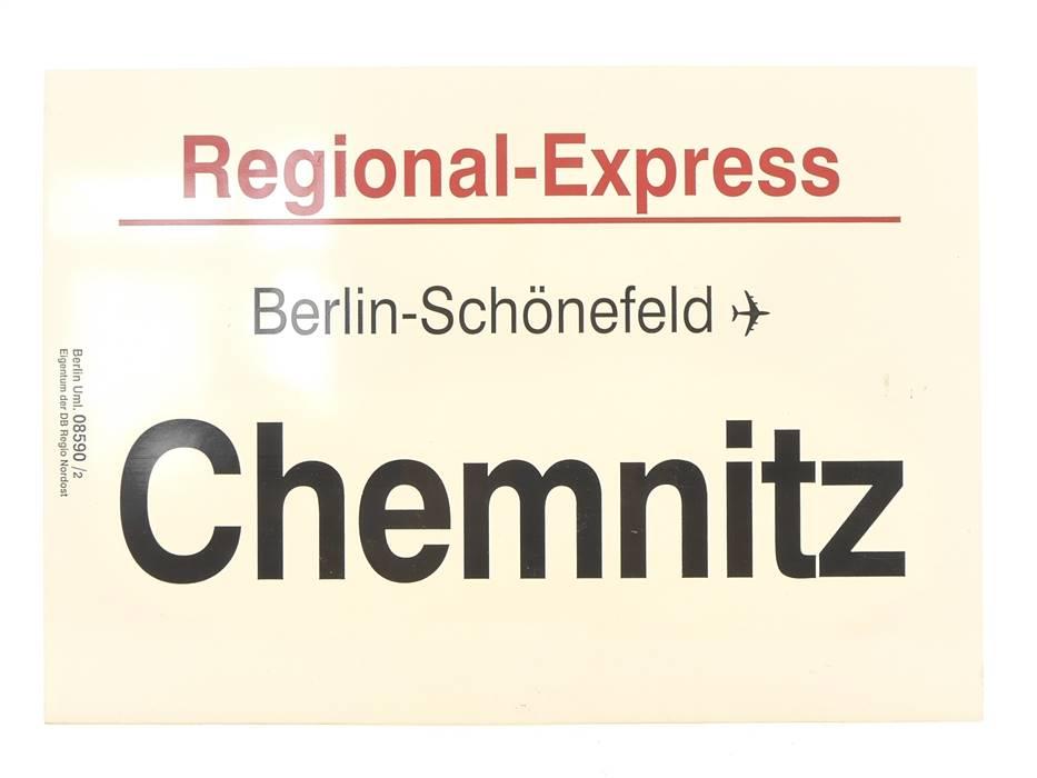 """E244 Zuglaufschild Waggonschild Regional-Express """"Berlin-Schönefeld"""""""