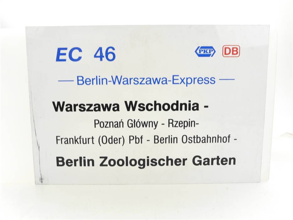 E244a Zuglaufschild Waggonschild EC 46 Berlin-Warszawa-Express Warszawa - Berlin