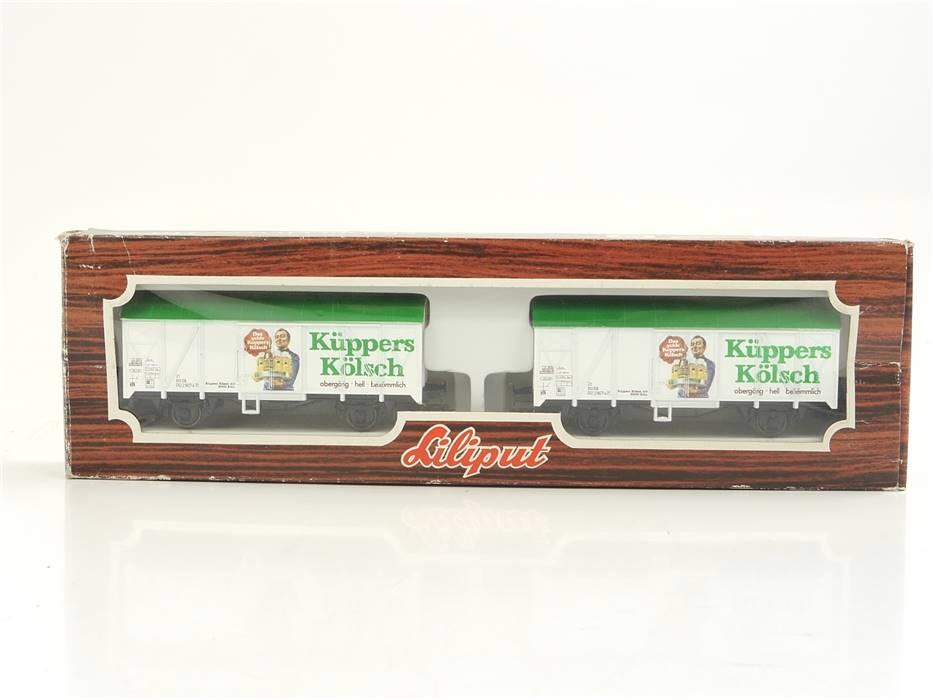 """E322 Liliput H0 229 07 Güterwagen-Set 2-tlg. Bierwagen """"Küppers Kölsch"""" DB / NEM"""