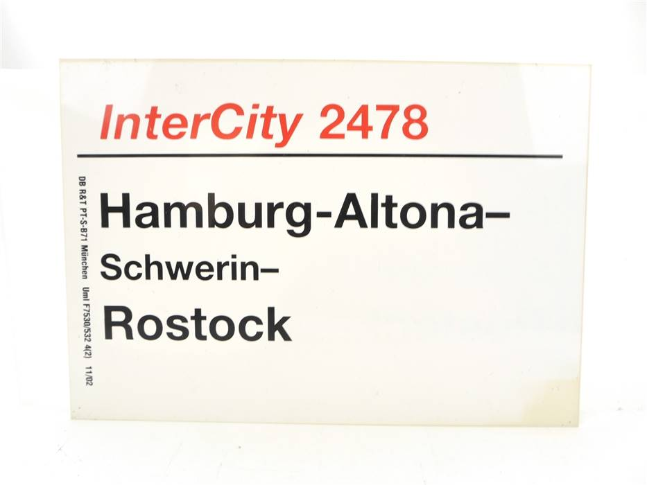 E244 Zuglaufschild Waggonschild InterCity 2478 Hamburg-Altona - Rostock
