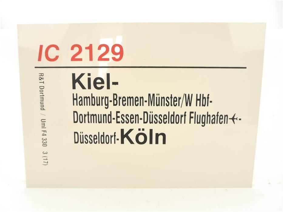 E244 Zuglaufschild Waggonschild IC 2129 Kiel - Bremen - Düsseldorf - Köln