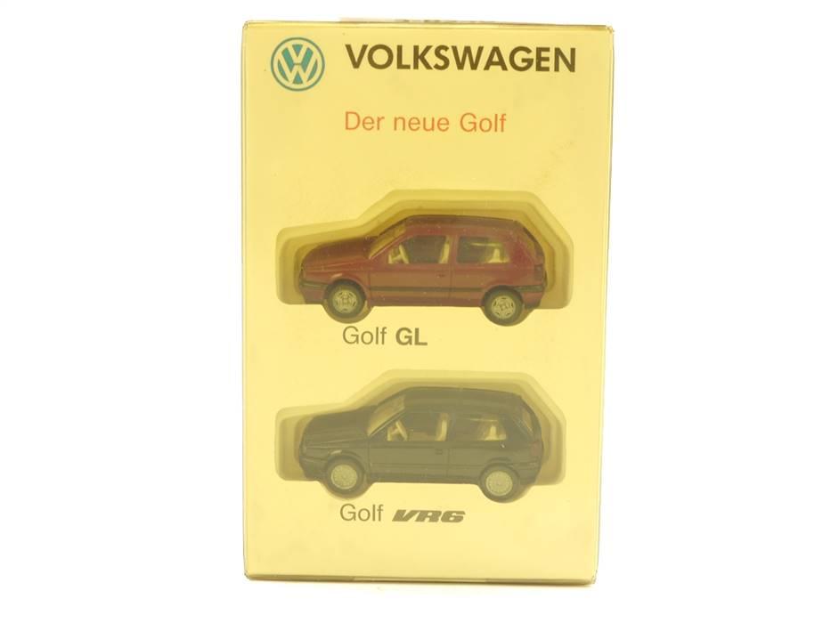 """E188 Wiking H0 Modellautoset 2-tlg. PKW """"Volkswagen Der neue Golf GL VR6"""" *TOP*"""