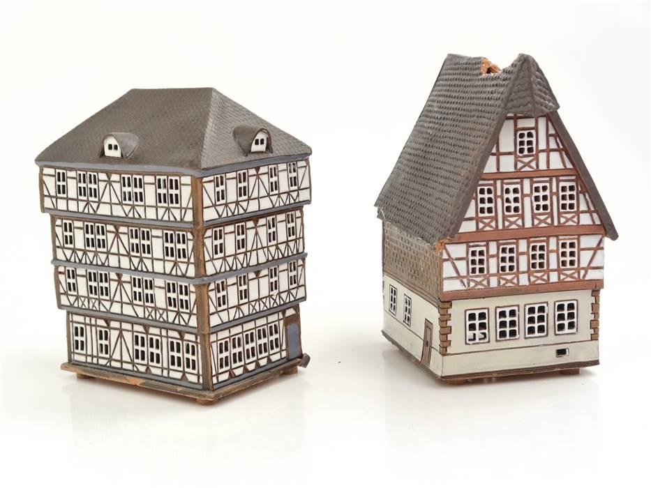 E336 Seifert Keramik Töpferei Königsau 2x Keramikhaus Teelichthalter