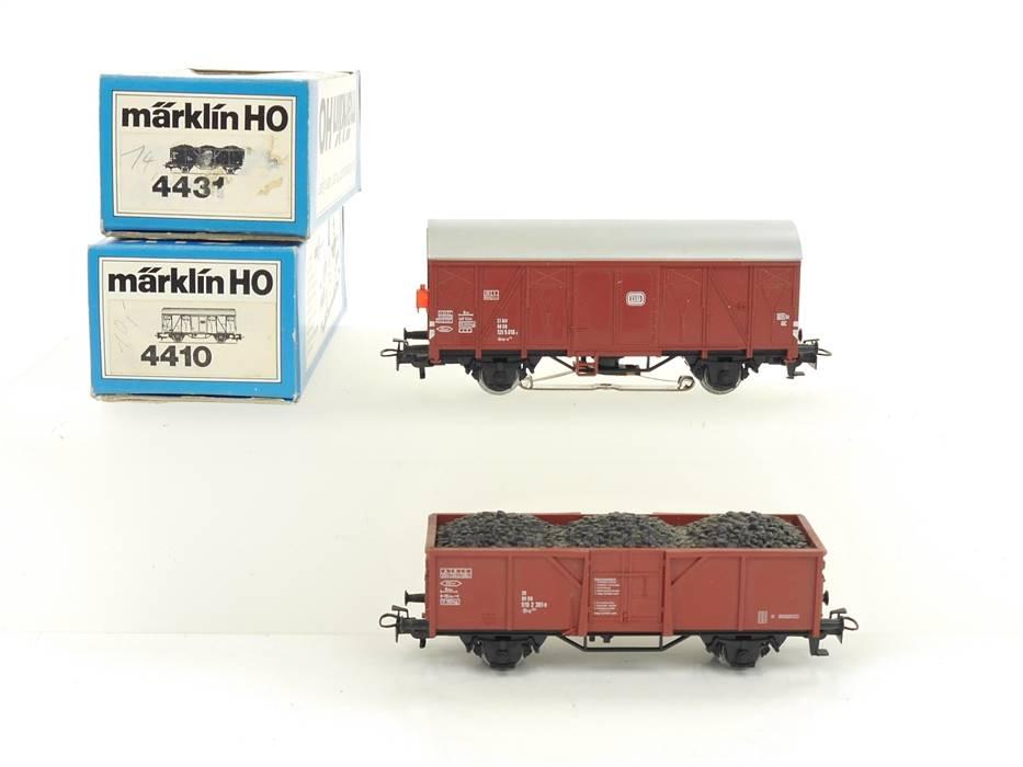 E324 Märklin H0 4410 4431 2x Güterwagen Hochbordwagen mit Kohle DB / 1x Licht