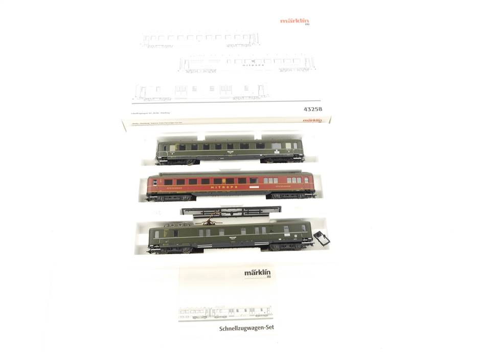 """E324 Märklin H0 43258 Personenwagenset 3-tlg. """"Berlin-Hamburg"""" DRG / NEM"""