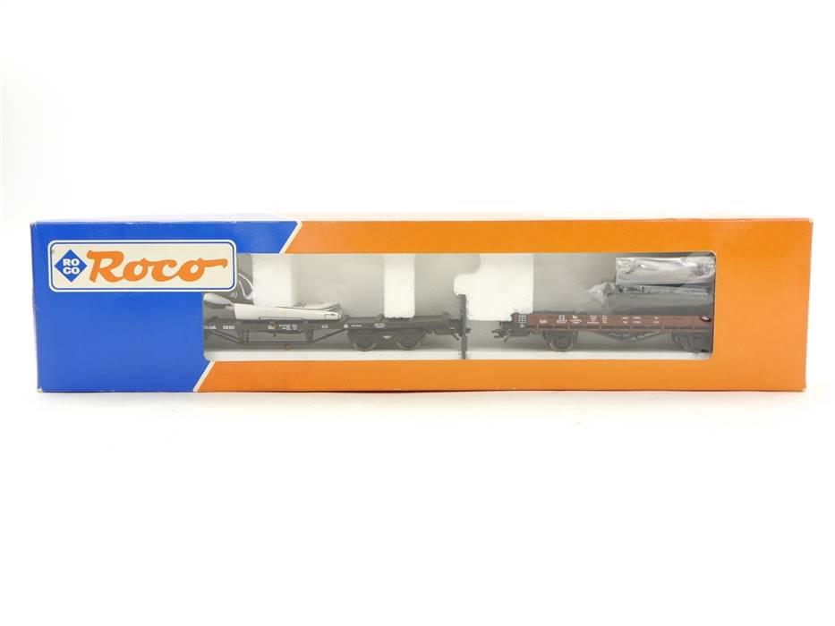E332 Roco H0 44083 Güterwagenset 2-tlg. Flachwagen Rungenwagen Els.-Loth. KPEV