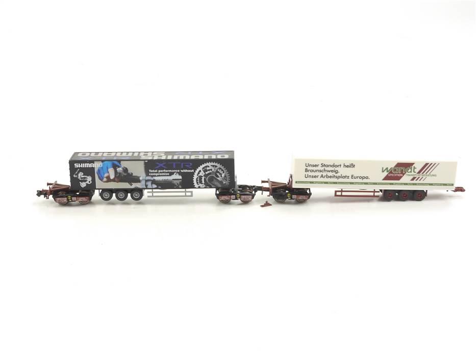 """E330 Minitrix N 13492 Güterwagen-Set 2-tlg. Kombirail """"Wandt"""" """"Shimano"""" DB / NEM"""