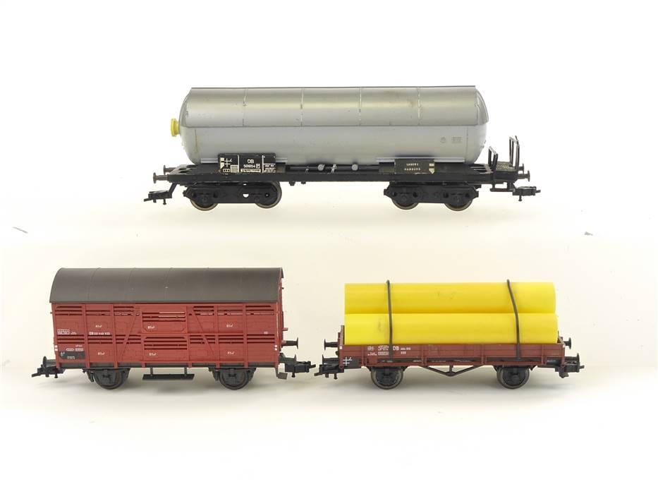 E266 Fleischmann H0 3x Güterwagen Kesselwagen Verschlagwagen Niederbordwagen DB