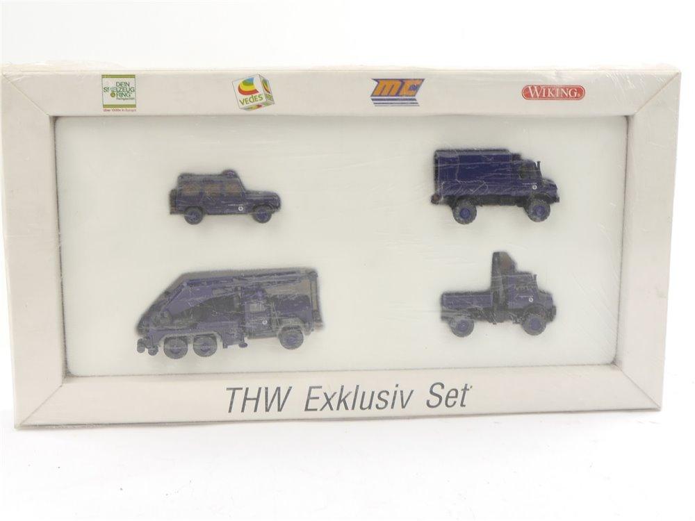 E188 Wiking H0 99009 4x Modellauto Einsatzfahrzeuge THW Exklusiv Set 1:87 *TOP*