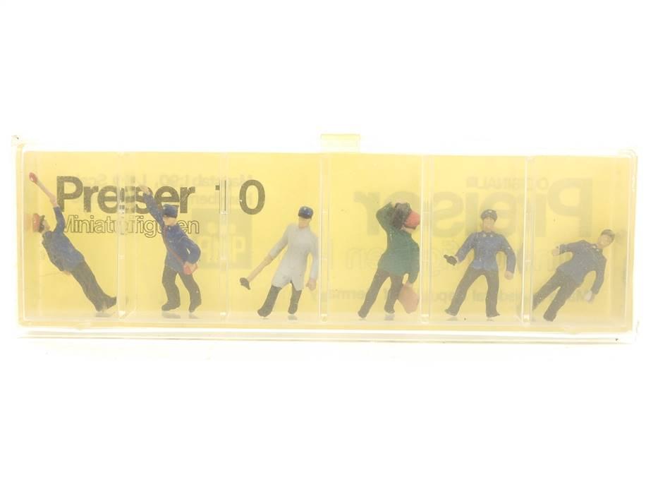 E169 Preiser H0 10 Figuren-Set 6-tlg. Bahnpersonal Bahnbedienstete 1:90 *TOP*