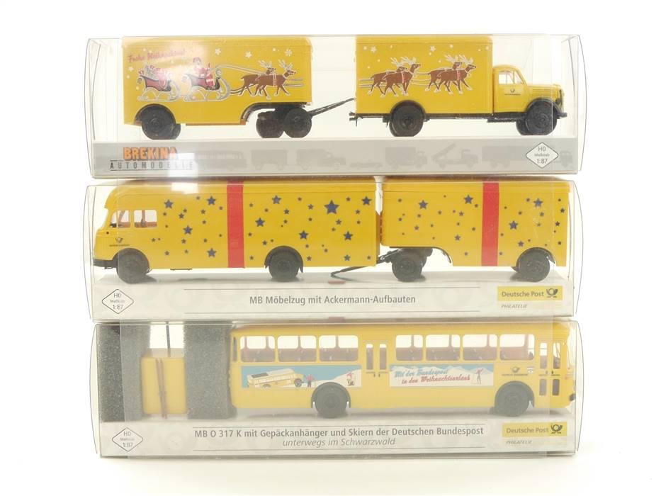 """E332 Brekina H0 018066 018374 3x Modellauto LKW Bus """"Weihnachten"""" 1:87 *TOP*"""