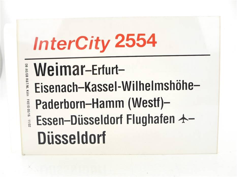 E244 Zuglaufschild Waggonschild InterCity 2554 Weimar - Hamm - Düsseldorf
