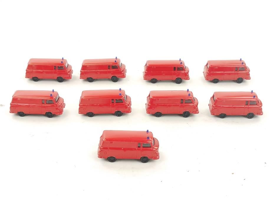 E169 H0 9x Modellauto Feuerwehr Barkas DDR 1:87