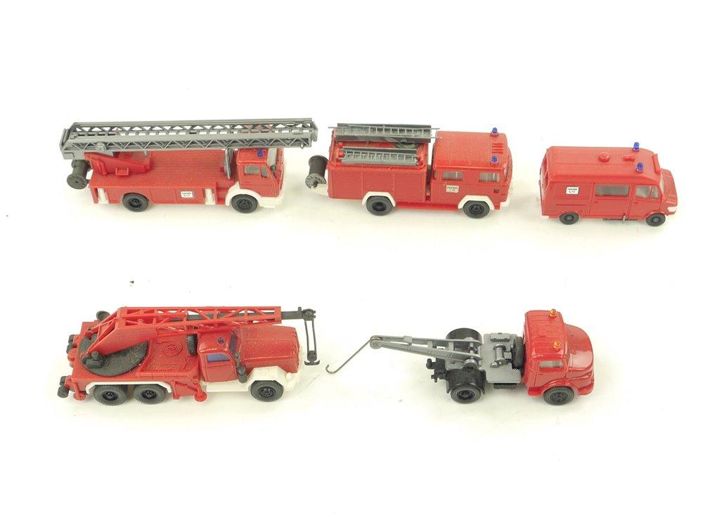 E162 Wiking H0 5x Modellauto Feuerwehr Leiterwagen Abschleppwagen 1:87 Konvolut