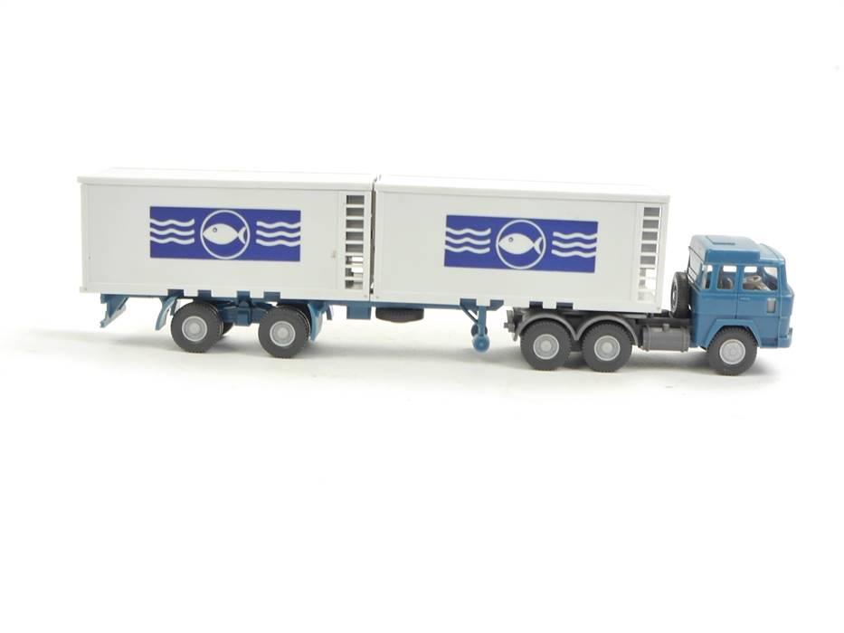 E169 Wiking H0 522/4a Modellauto LKW Kühlcontainer-Sattelzug Magirus 235 D 1:87