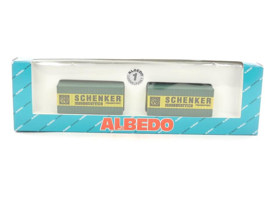E169 Albedo H0 500169 Zubehörset 2-tlg Container Schenker Messeservice Frankfurt