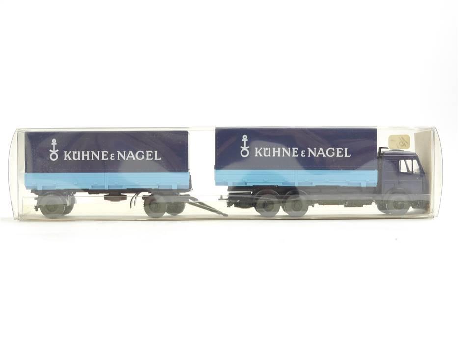 """E169 Wiking H0 571 30 Modellauto LKW Lastzug MB """"Kühne & Nagel"""" 1:87 *TOP*"""