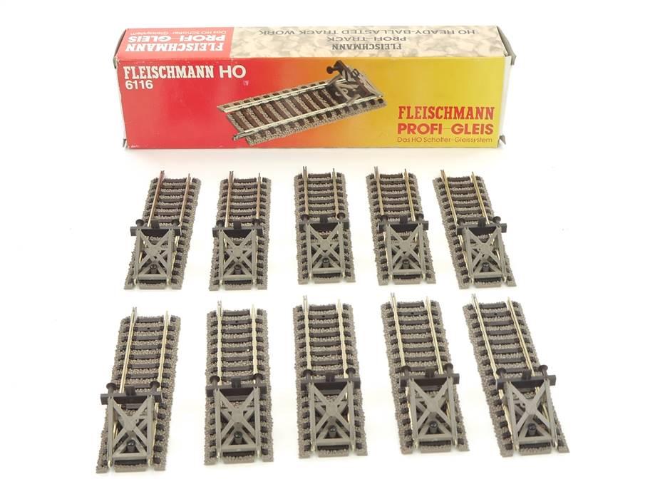 E169 Fleischmann H0 6116 10x Profi-Gleis Gerade 105 mm mit Prellbock *TOP*