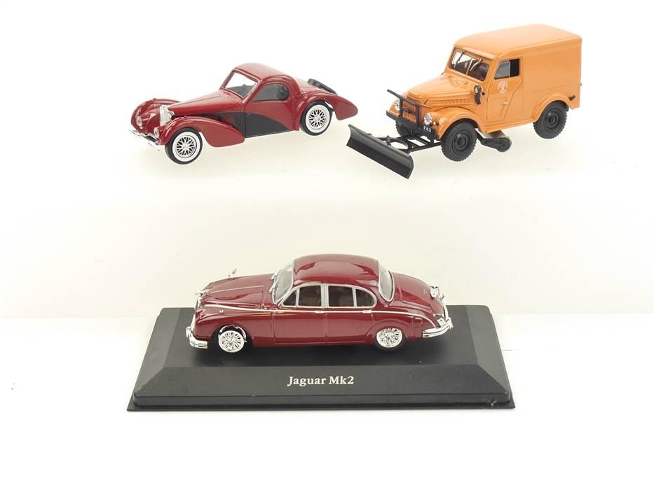 E296 Atlas DeAgostini solido 3x Modellauto PKW Jaguar MK2 Bugatti 57S etc. 1:43